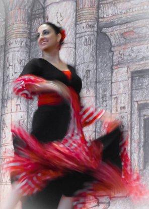 red dance twirler